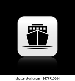 Black Ship icon isolated on black background. Square button vector Illustration