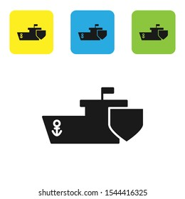 Black Ship with shield icon isolated on white background. Insurance concept. Security, safety, protection, protect concept. Set of colorful square icon buttons. Vector Illustration