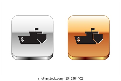 Black Ship with shield icon isolated on white background. Insurance concept. Security, safety, protection, protect concept. Silver-gold square button. Vector Illustration