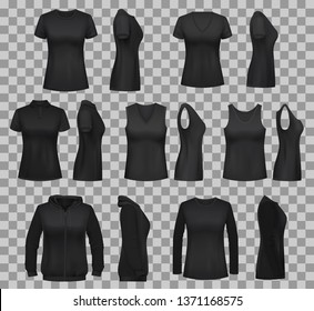 Black shirt vector templates with blank 3d mockups of women clothes. Front and side view of sleeveless polo and tank top, sweatshirt, long sleeve shirt and sport hoodie on transparent background