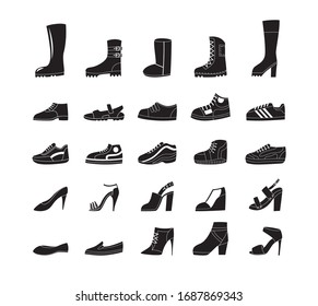 Black shoe icon set. Footwear fashion line from high heels and sport sneakers to platform boots and summer sandals, flat isolated vector illustration on white background