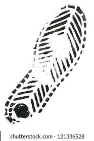 Black shoe print on white background. Vector illustration.