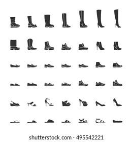 Black shoes icon set, men and women fashion shoes. Vector illustration