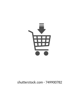 black shopping cart with black down arrow sign. Simple icon isolated on white background. Store trolley. Flat vector Illustration. Good for web and mobile design.