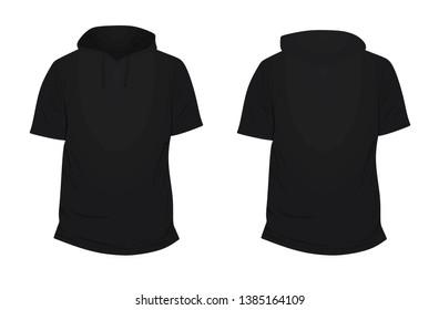 Black short sleeve hoodie. vector illustration