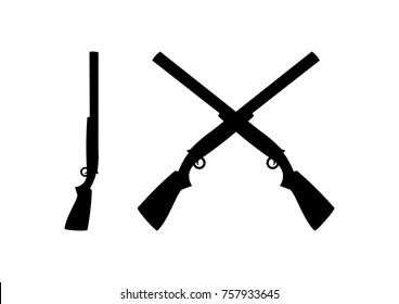 Black Shotguns Cross Illustration Logo Silhouette