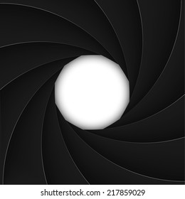 Black shutter aperture with white opening. Vector illustration.