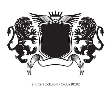 Black sign with lions and a shield on a white background.