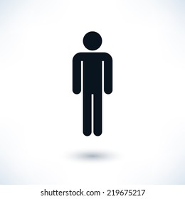 Black sign man stands. Simple information symbol with gray drop shadow isolated on white background in flat style. Graphic design elements save in vector illustration 8 eps