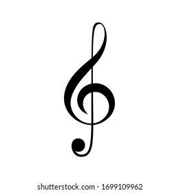 Black sign musical treble clef or violin key. Vector stock icon isolated on a white background