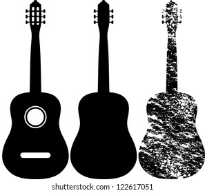 Black silhouette of acoustic guitar