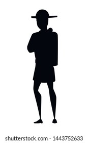 Black silhouette adult male firefighter stand on ground wearing fireproof form cartoon character design flat vector illustration