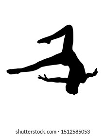 Black silhouette of an aerialist on a white background. Gymnast logo