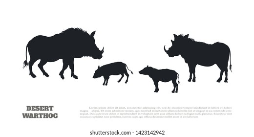 Black silhouette of african boar on white background. Isolated image of desert warthog family. Landscape with wild animals of Africa. Savannah nature. Vector illustration