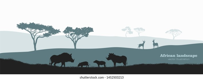 Black silhouette of african boar. Scenery with desert warthog family. Landscape with wild african animals. Scene of savannah wildlife. Travel poster of Africa. Vector illustration