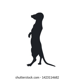Black silhouette of african meerkat on white background. Isolated mongoose icon. Wild animals of Africa. Savannah nature. Vector illustration