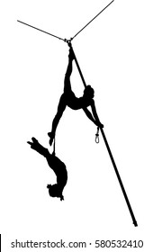 Black silhouette air gymnasts on a white background.