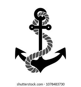 Black silhouette of an anchor with a piece of rope, isolated.