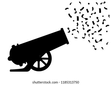 Black silhouette. Ancient cannon shots confetti. Circus cannon. Flat vector illustrator isolated on white background.