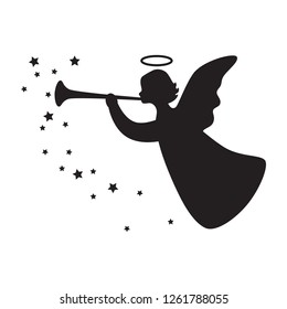 Black silhouette angel with stars isolated on white background. Vector illustration.