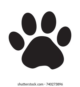 Black silhouette animal paw track isolated on white background. Vector illustration