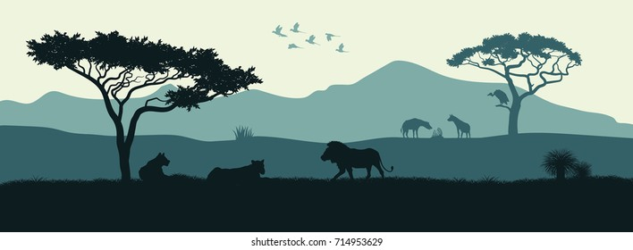 Black silhouette of animals of the African savannah. Lions give out among the trees. Landscape of wild nature. Africa. Vector illustration
