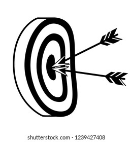 Black silhouette. Archery target with two arrows in the center. Target for archers and crossbowmen. Flat vector illustration isolated on white background.