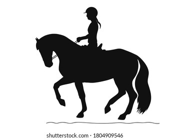 Black silhouette of a athlete during a training session on a horse