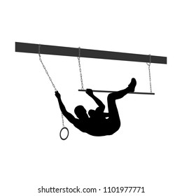 Black silhouette of athletic man overcoming the obstacle. Obstacle course symbol. Vector illustration.