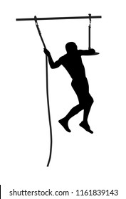 Black silhouette of an athletick man overcoming the obstacle. Obstacle race symbol. Vector illustration.