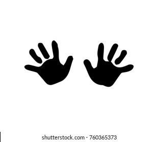 Black Silhouette Of Baby Hand Prints Isolated On White Background Vector Illustration Icon