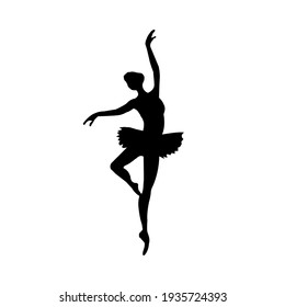 Black silhouette of a ballerina on a white background.Vector illustration.