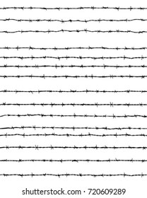 Black silhouette of the barbed wires on a white background, seamless