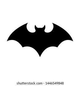 Black silhouette of bat isolated on white background. Halloween decorative element. Vector illustration for any design.