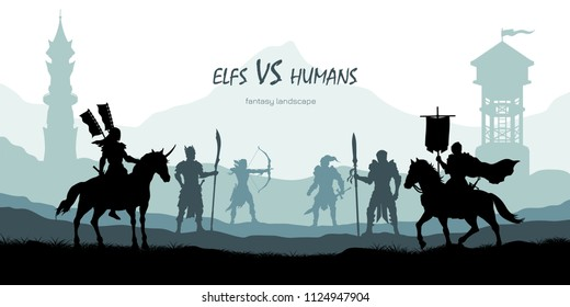 Black silhouette of battle humans and elfs. Fantasy landscape. Medieval 2d panorama. Knights and warriors fighting scene. Scenery with towers. Vector illustration