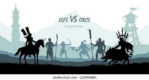 Black silhouette of battle orcs and elfs. Fantasy landscape. Medieval 2d panorama. Knights and warriors fighting scene. Scenery with towers. Vector illustration