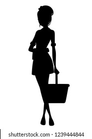 Black silhouette. Beautiful maid in classic french outfit. Cartoon character design. Maid holding cleaning bucket and towel. Flat vector illustration isolated on white background.