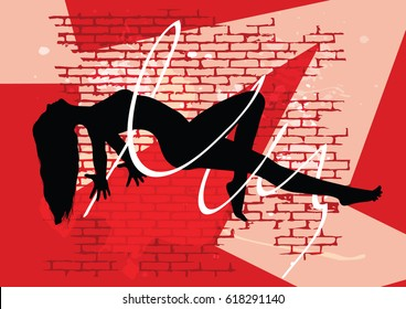 Black silhouette of beautiful woman on red background