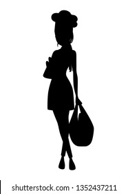 Black silhouette. Beautiful women chef with brown hair, women hold bag with bread. Bakery young female chef. Cartoon character design. Flat vector illustration isolated on white background.