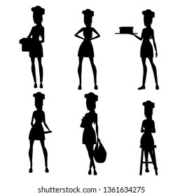 Black silhouette. Beautiful women chef with brown hair collection. Bakery young female chef. Cartoon character design. Flat vector illustration isolated on white background.