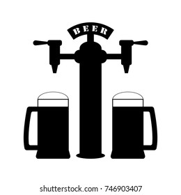 Black silhouette of beer pump for bar with tap and handle and with set full beer mugs with foam. Pouring in beer glasses. Vector drawing. Illustration with isolated object on white background.