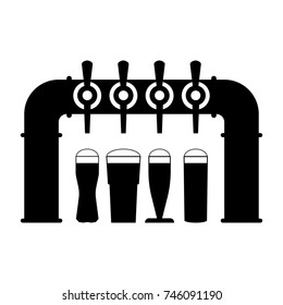 Black silhouette of beer pump with tap and handle and with set full beer glasses with foam. Pouring beer in glass mug. Vector drawing. Illustration with isolated object on white background.