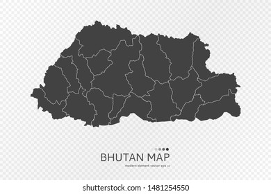 Black silhouette of Bhutan map on transparent background. EPS10 vector file organized in layers for easy editing.