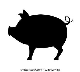 Black silhouette. Big pig with curly tail. Farm domestic animal. Flat style animal design. Vector illustration isolated on white background.