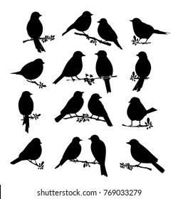 black silhouette of birds. Big set