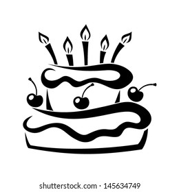 Black silhouette of birthday cake. Vector illustration.