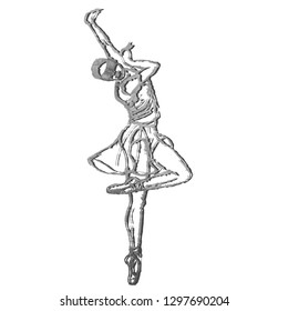 Black silhouette of blind dancing girl on White background. Balet dancer.  people with reduced capabilities.