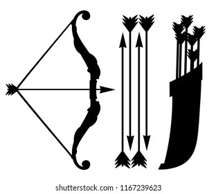 Black silhouette. Bow weapon with arrows and quiver. Wooden quiver. Medieval and fantasy weapon. Flat vector illustration isolated on white background.