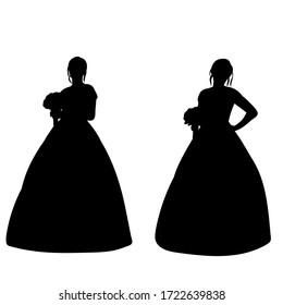 black silhouette of a bride