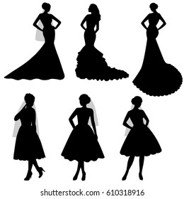 The black silhouette of  bride on a white background. Collection. Set. A girl in a dress. Vector illustration.